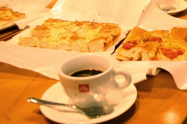 Foccacia and espresso
