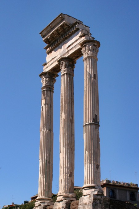 Three columns are all that remain of the Temple of Castor and Pollux