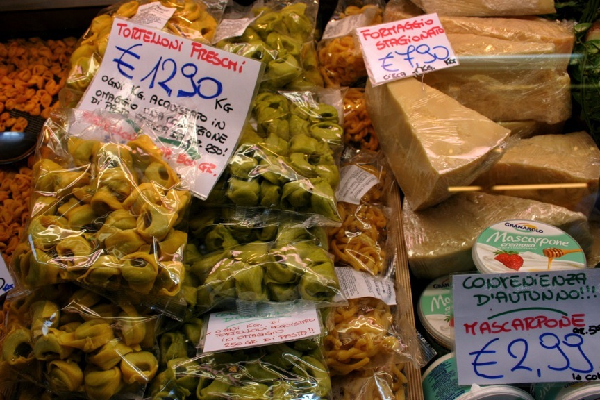 Tortelloni, one of several kinds of stuffed pasta famous in Emilia-Romagna