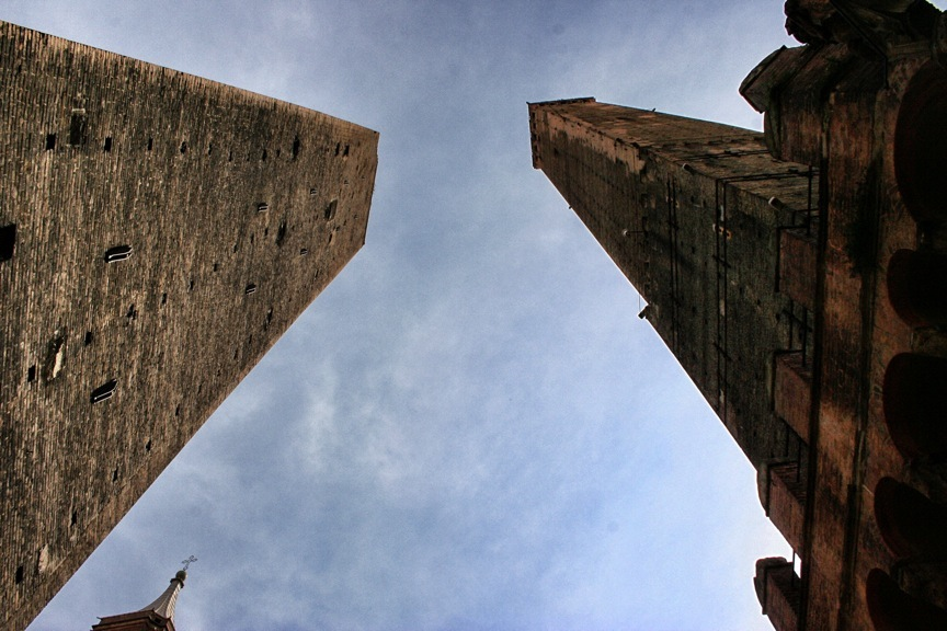 The Two Towers of Bologna, Asinelli on the right, Garisenda on the left