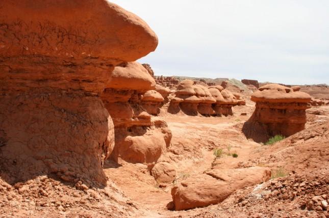 Mushroom-shaped hoodoos populate Goblin Valley