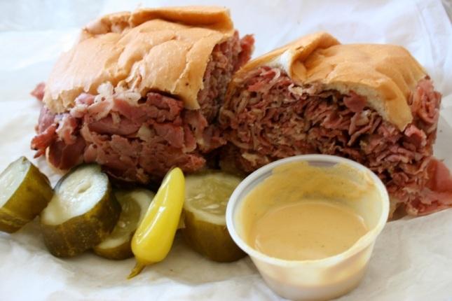 Johnnie's pastrami dip sandwich