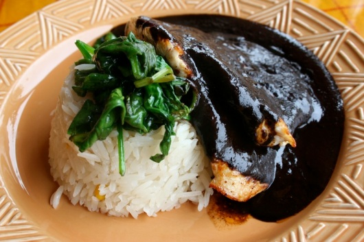 Chicken breast with mole negro