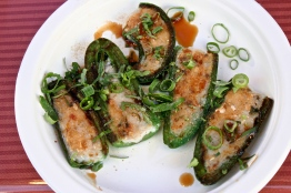 Pan-fried jalapenos with fish paste