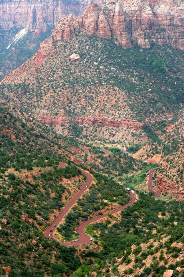 The Zion-Mt. Carmel Highway ascends 600ft from the valley floor