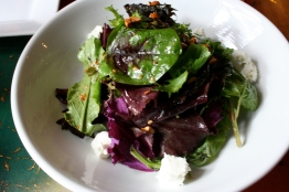 Greens, goat cheese, hazelnut, apple cider clover honey vinaigrette