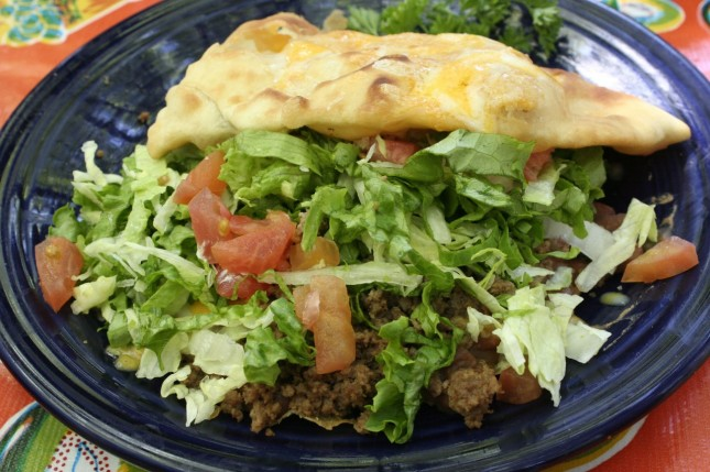 Sopaipilla stuffed with beef and vegies