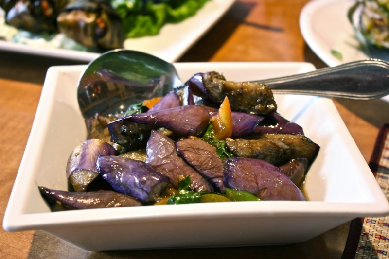 Stir-fried eggplant with garlic, Thai Basil and bell peppers