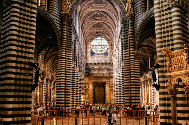 The striped columns of Siene's Duomo are a decidedly Moorish influence