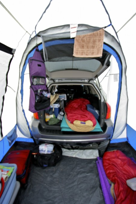The attached tent extends the living space