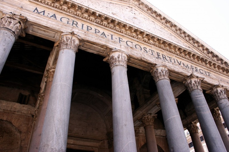 The portico of the Pantheon has Corinthian columns made from single pieces of granite