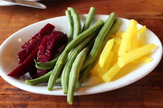 House-made pickles of beets, green beans and daikon radish