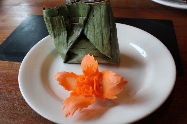 Otak otak, curried salmon steamed in banana leaf