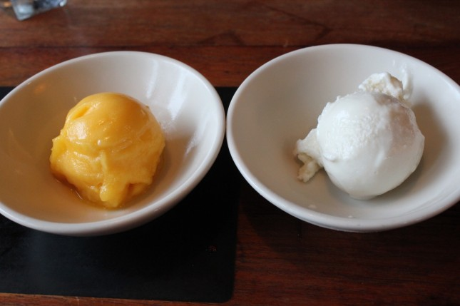 Mango sorbet and ginger ice cream
