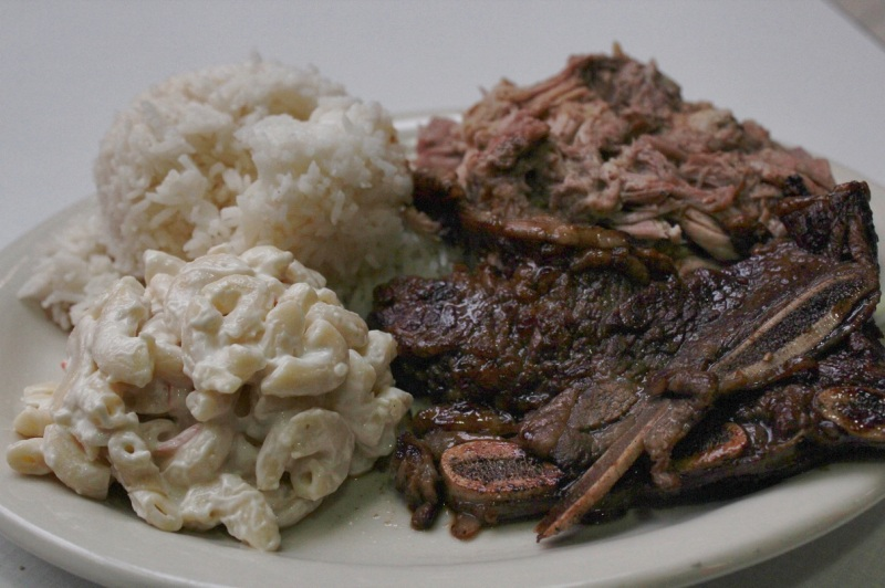 Kalua pork and BBQ short rib combo plate