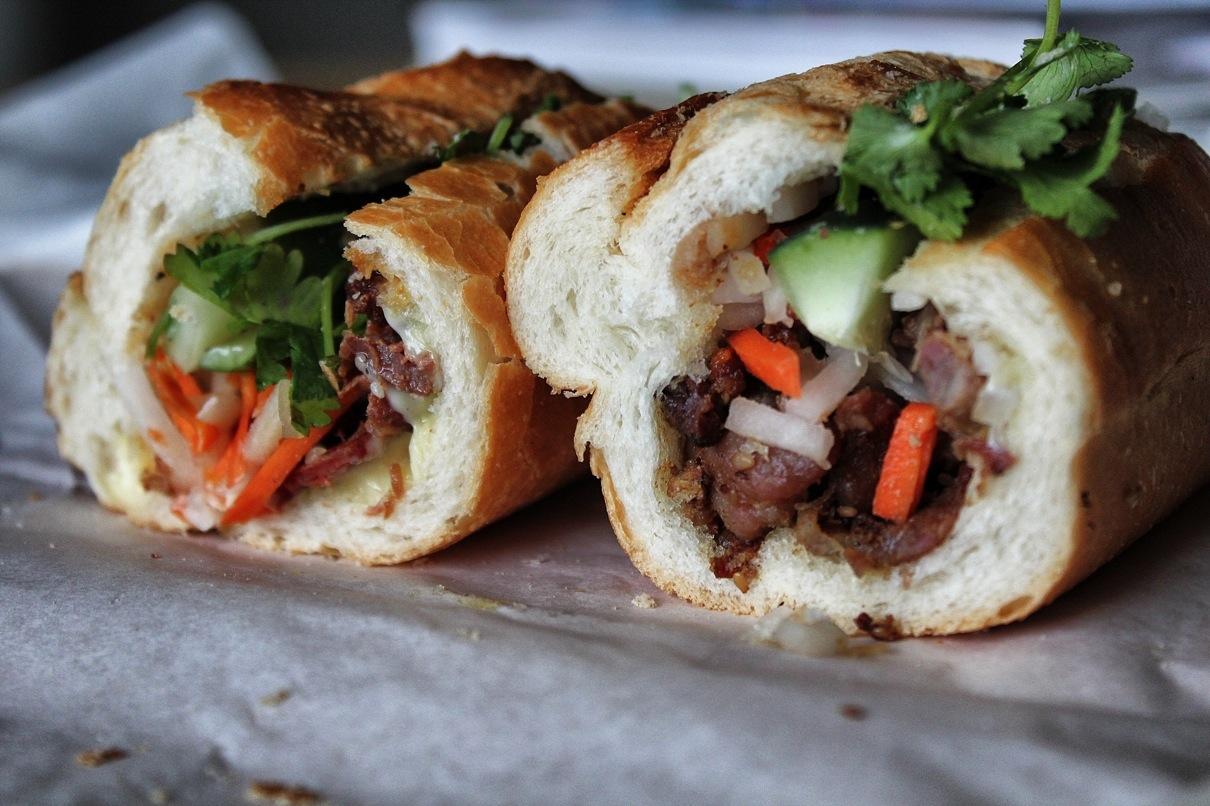 Saigon Deli's sandwich on the left, Seattle Deli's on the right