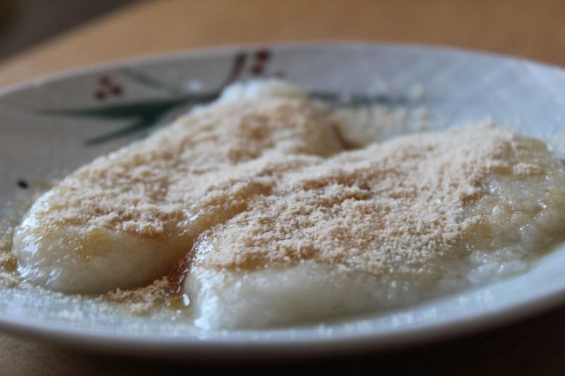Softened mochi sprinkled with sweetened kinako