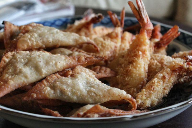 Wonton and tempura shrimp