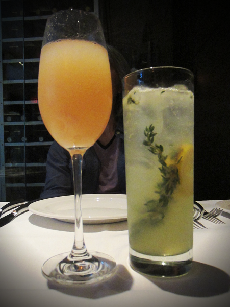 Peach prosecco bellini and Limoncello thyme cocktails at Taormina
