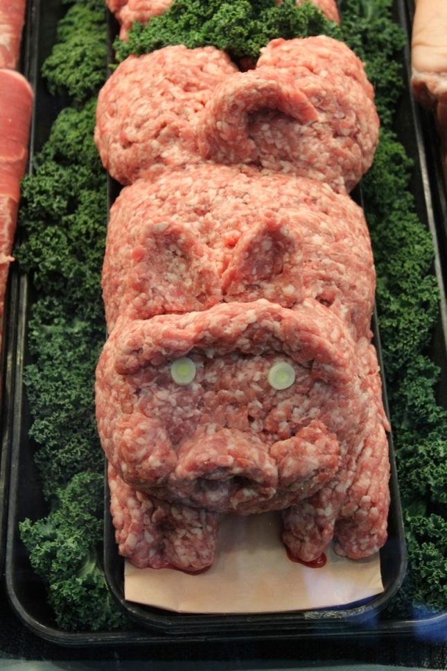 Ground pork behind the Uwajimaya meat counter