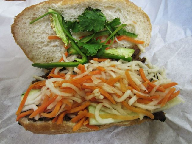 Grilled pork anh mi sandwich