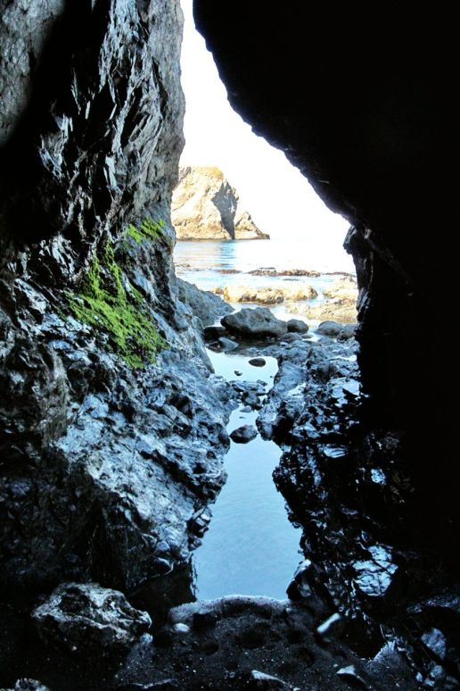 Sea caves can be entered at low tide