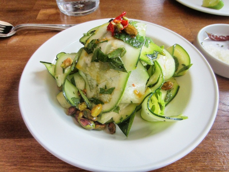 Marinated zucchini with toasted pistachios, mint, parsley & tarragon