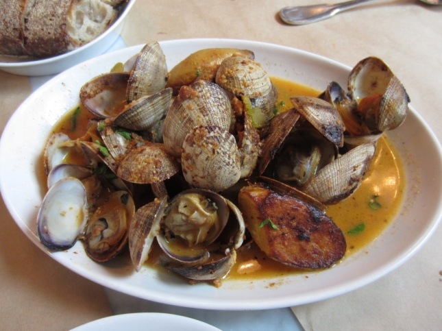 Hama Hama roasted clams with Romesco, fingerling potatoes & marjoram