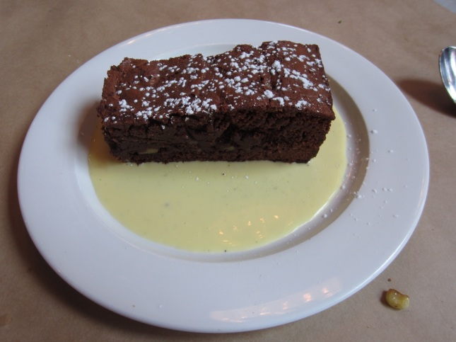 Shirlee's brownie with creme anglaise