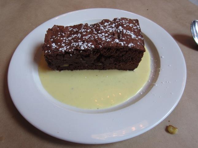 Shirlee's brownie with creme anglaise