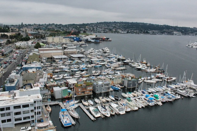 View of Lake Union from the east side of Aurora Bridge