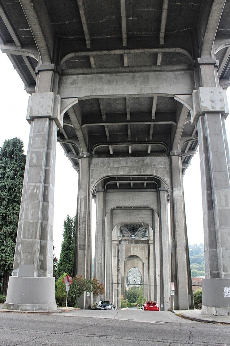 Aurora Bridge towers over Troll Avenue
