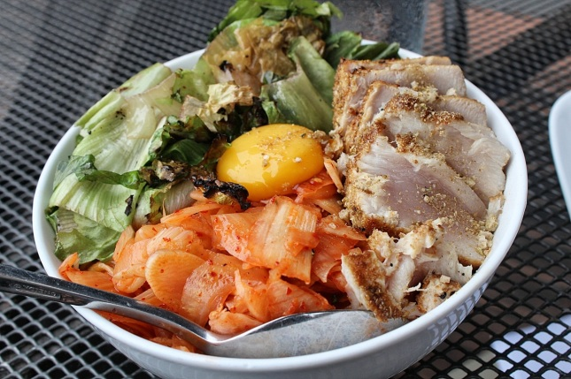 Bibimbop of seared tuna, fennel kimchi and escarole