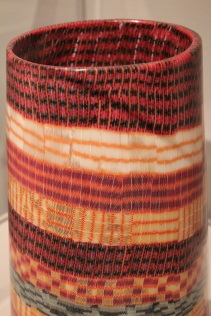 """Giles Bettison, """"Textile 10, #14."""" Fused, blown murrine glass made to look like textile."""