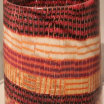 "Giles Bettison, ""Textile 10, #14."" Fused, blown murrine glass made to look like textile."