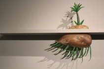 Tom Moore's pieces are whimsical, almost Dr. Suess-like.