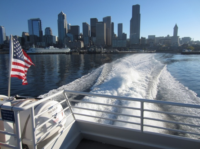 Seattle skyline from water taxi