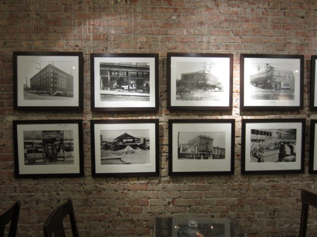 Historic photos on café shop wall