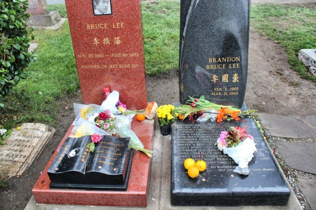 Tombstones of Bruce and Brandon Lee