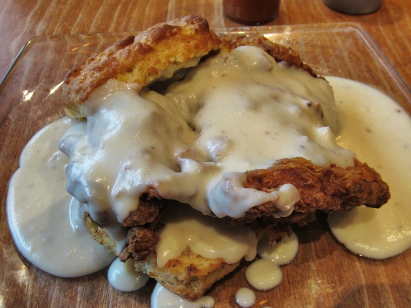 Biscuit with fried chicken and Tabasco black pepper gravy