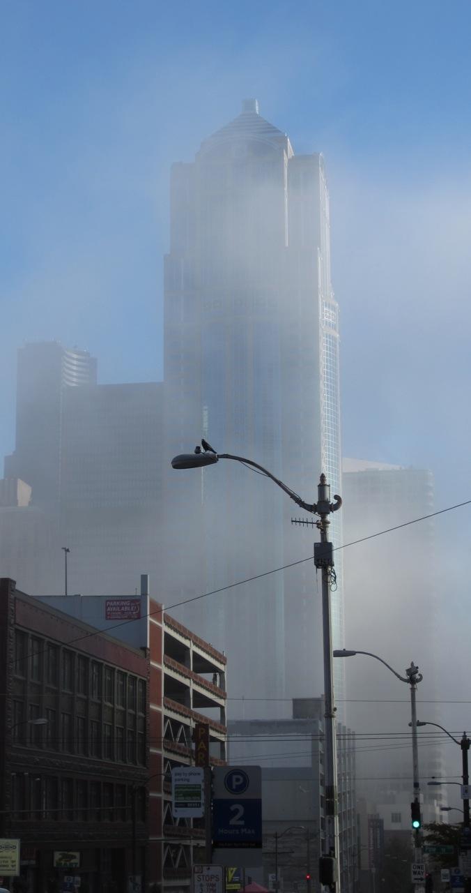 Skyscraper in fog, taken from 2nd & Stewart