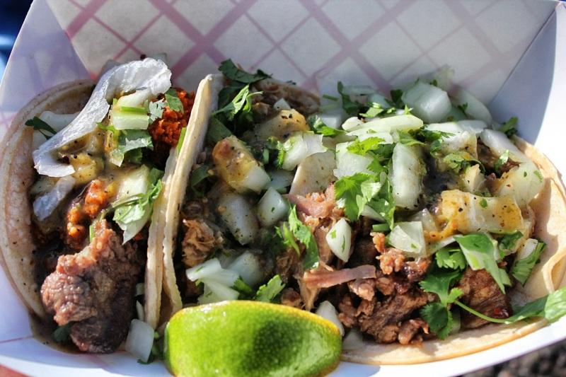 Soft tacos: al pastor, carnitas, chupa cabras (L to R)