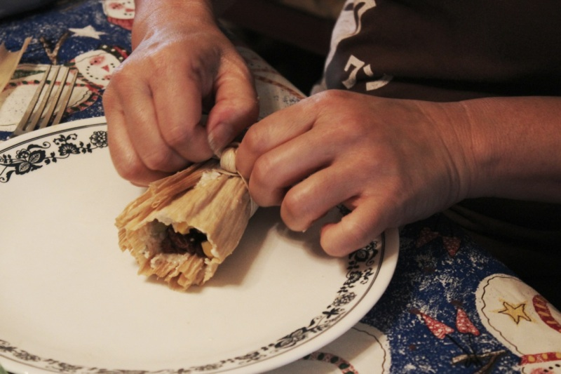 Tying the husk (this step identifies tamales for the vegetarians)