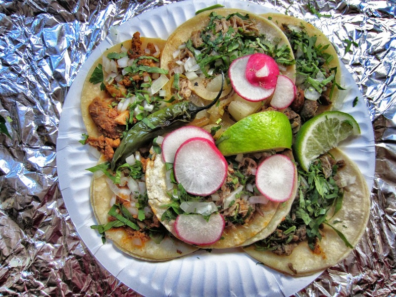 Tacos (left to right: adobada, carnitas, asada)