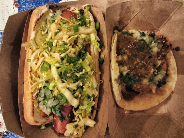 Kogi dog and calamari taco