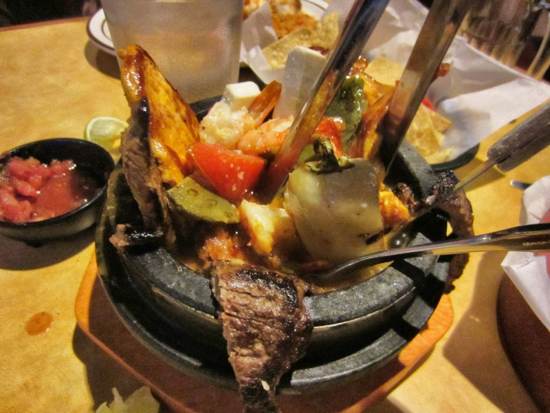Molcajete with beef, chicken and shrimp