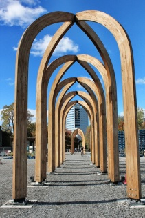 Temporary timber arches on the former Crowne Plaza Hotel site