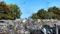 Rubble on the northwest corner of Colombo and Brougham Streets