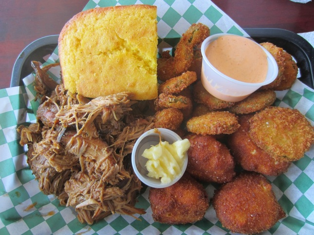 Pulled Pork Plate with fried pickles and fried mac & cheese