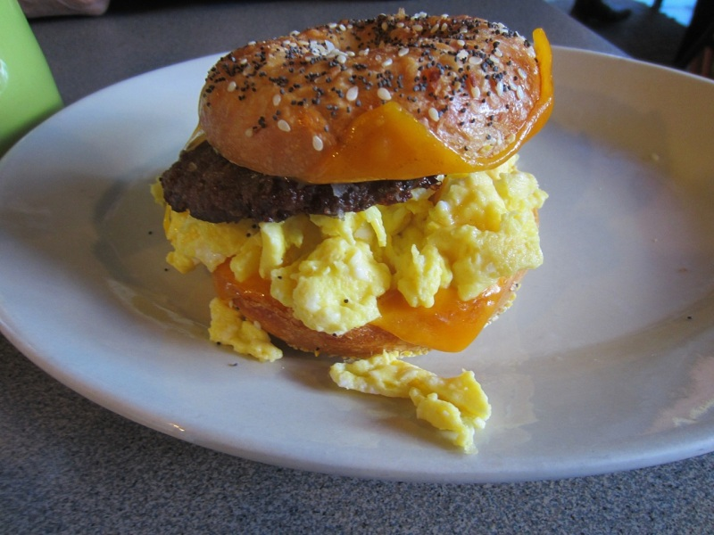Moose bagel with vegetarian sausage